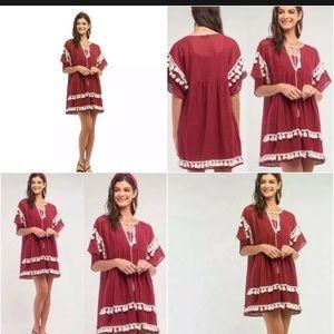 NWT SugarLips Burgundy Pom Pom Mini Dress